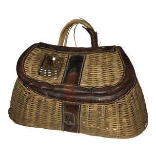 Vintage Rustic Wicker & Leather Fishing Creel Basket For Sale