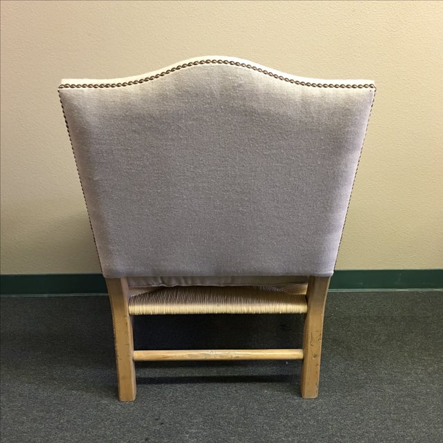 Linen Upholstered Oak and Woven Chair - Image 3 of 7