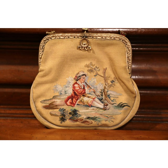 19th Century French Louis XVI Aubusson Ladies Purse With Brass Strap and Lock For Sale - Image 4 of 9