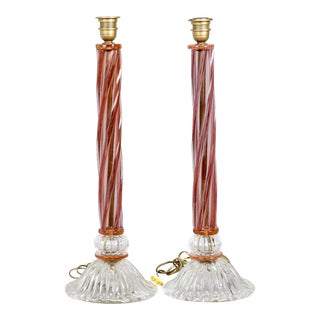 Italian Mid-Century Tall Murano Glass Table Lamps - Pair For Sale