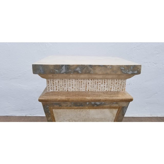 Neoclassical Revival 1980s Vintage Maitland Smith Tessellated Stone Pedestal For Sale - Image 3 of 9