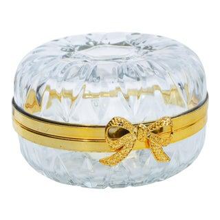 Vintage Crystal Candy Jar W/ Golden Design For Sale