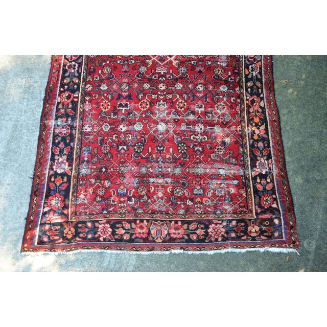 "Mid 20th Century Persian Distressed Floral Carpet - 9' 4"" X 4' 8"" For Sale - Image 5 of 12"