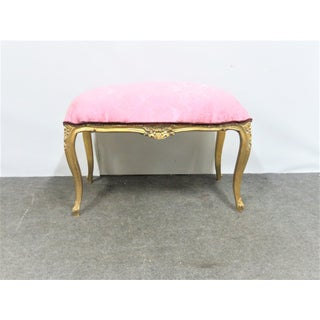 Vintage Mid Century Louis XVI Carved Gold Gilt Upholstered Bench Preview