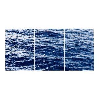 Seascape Waves in Movement Cyanotype on Watercolor Paper Triptych For Sale