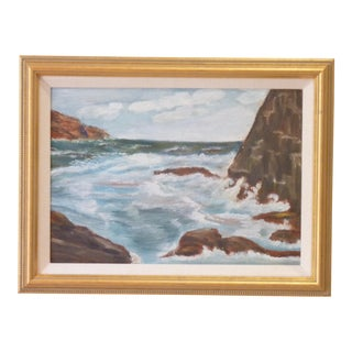 Seascape of Surf & Rocks Painting For Sale