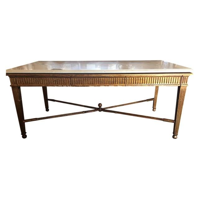 Nancy Corzine Marble Top Gold Desk - Image 1 of 6