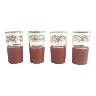 Mid Century Red and Gold Floral Tumblers - Set of 4 For Sale
