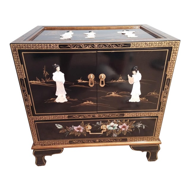 Asian Black Lacquered Chest For Sale