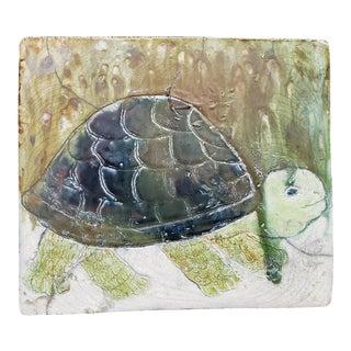 "Vintage ""Slow & Steady Tortoise"" Glazed & Painted Ceramic Tile For Sale"