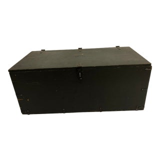 Vintage Military Wood Foot Locker Trunk With Tray For Sale