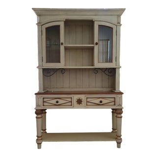 Solid Wood Distressed Cream and Tan Lighted Cabinet Hutch For Sale