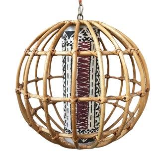 Restored Franco Albini Inspired Stick Rattan Spherical Chandelier For Sale