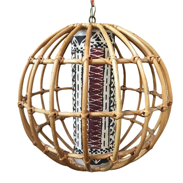 Restored Franco Albini Inspired Stick Rattan Spherical Chandelier For Sale