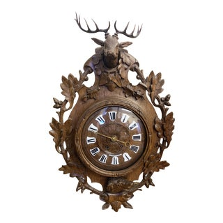 Mid 1800s Antique Swiss Black Forest Clock For Sale