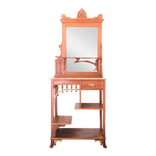 Gaudi Style Wooden Console & Mirror For Sale