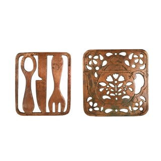 Vintage Copper Himark Teapot and Silverware Design Trivet or Hanging Wall Decor - a Pair For Sale