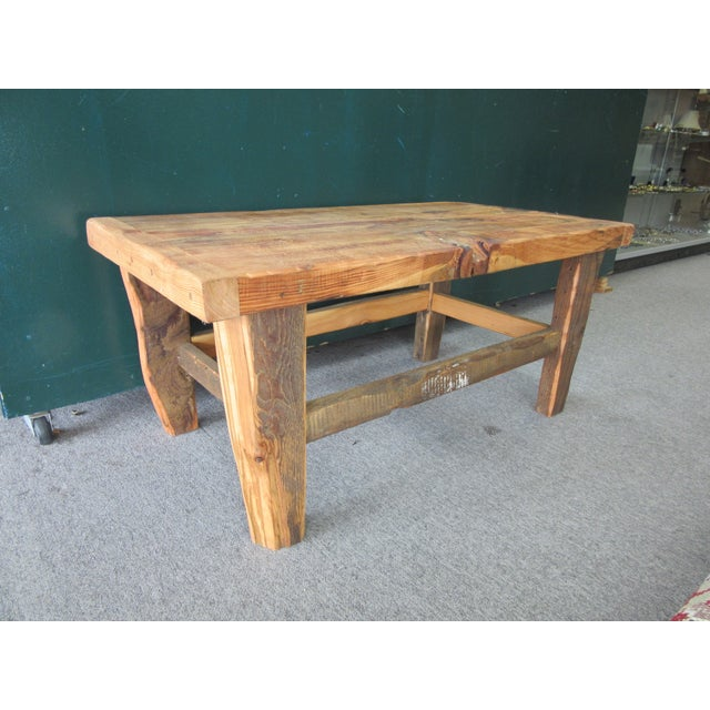 Rustic Reclaimed Pine Peg-Jointed Coffee Table - Image 2 of 11
