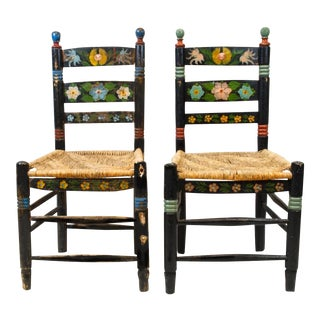 19th-Century Hand-Painted Mexican Folk Chair