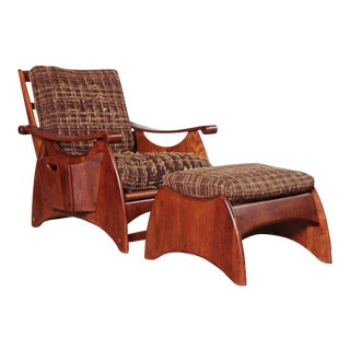 Gilbert Rohde Art Deco Wakefield Reclining Chair and Ottoman Original Fabric