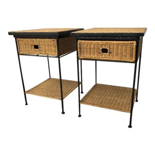 1950s Mid-Century Modern Wicker and Wrought Iron Side Tables - a Pair For Sale