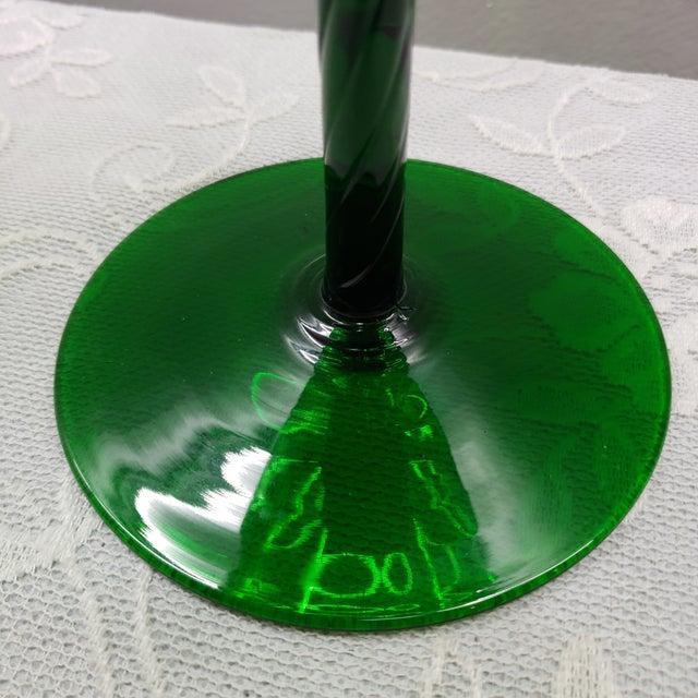 "Italian Mid Century Italian Emerald Green Art Glass Vase Vintage Murano 12"" For Sale - Image 3 of 11"