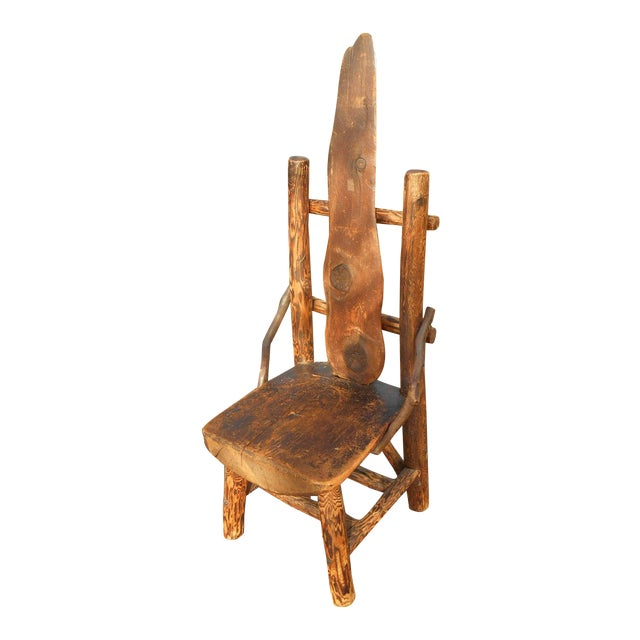 Antique Rustic Burl Wood Throne Chair For Sale