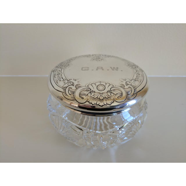 Traditional Gorham Sterling Silver Monogrammed Vanity Powder Jar For Sale - Image 3 of 7