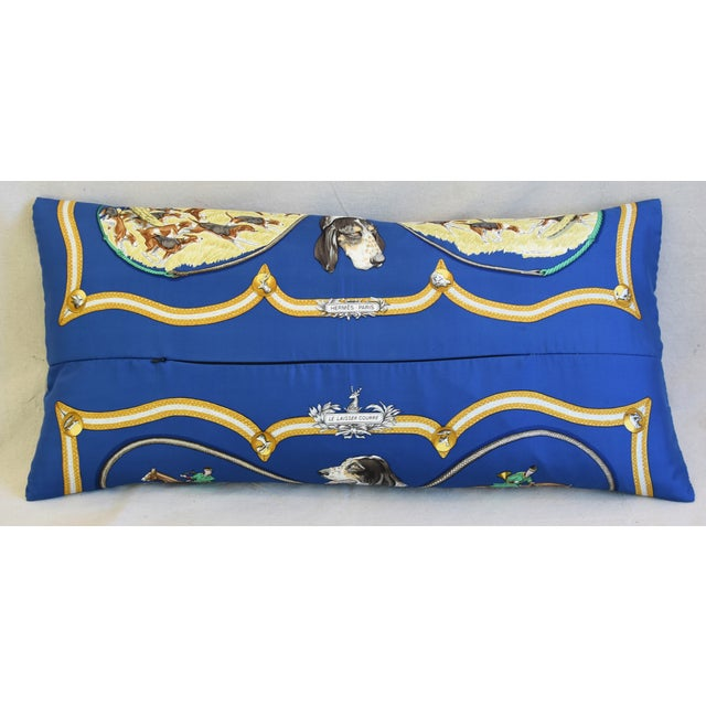 """Hermes Le Laissed Courre Hunt & Hounds Silk Feather/Down Pillow 34"""" x 17"""" For Sale - Image 9 of 12"""