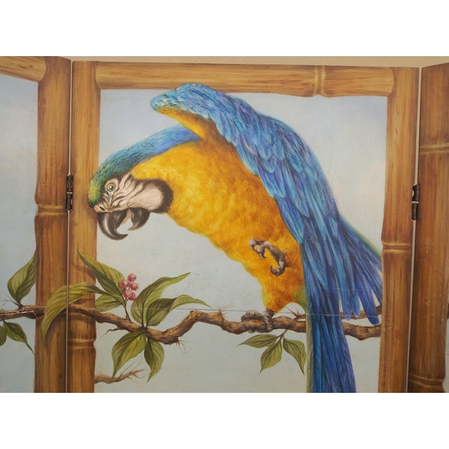 Late 20th Century Chinoiserie Picturesque Tropical Double Sided Hand Painted Room Divider For Sale - Image 5 of 13