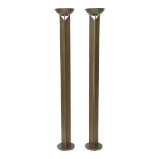 Pair of French Modern Bronzed Metal Torcheres For Sale