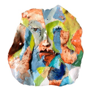 Artist Made Abstract Face Wall Sculpture For Sale