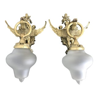 20th Century Victorian Dragon Brass Wall Lamps - a Pair For Sale