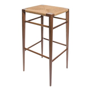 Set of 3 Smilow Walnut Bar Stools With Rush Seats in Stock For Sale