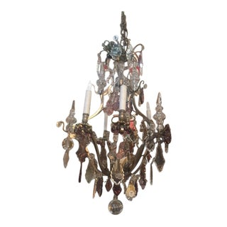 1900s Antique French Silver Bronze Chandelier With Amethyst Crystal & Grape Motif