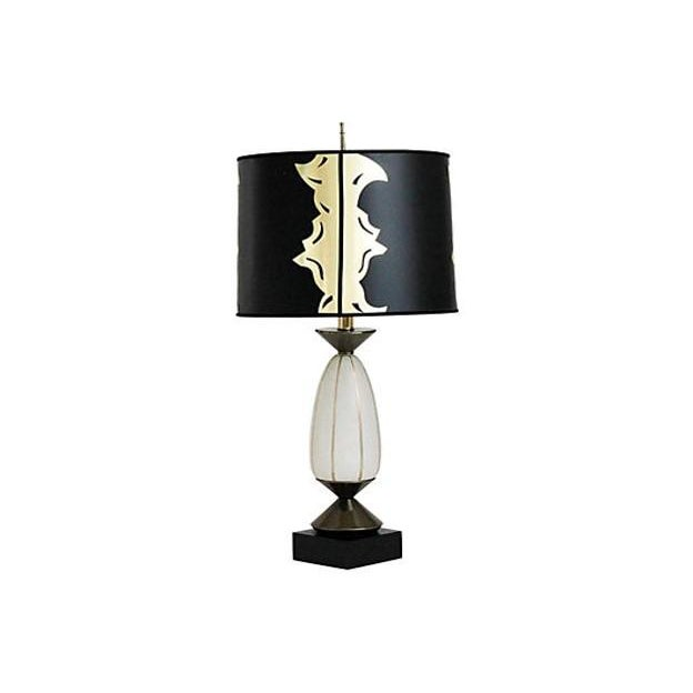 Hollywood regency glass lamp w shade chairish hollywood regency glass lamp w shade image 6 of 8 aloadofball Images