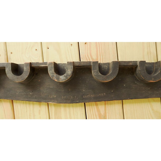 Industrial Vintage Wood Industrial Foundry Mold Pediment For Sale - Image 3 of 8
