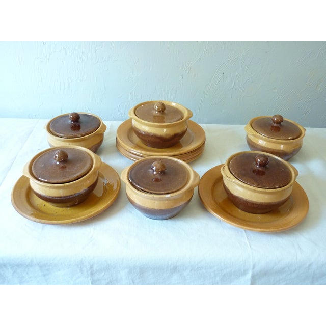 """Set of 6 French ceramic covered onion soup bowls with 8"""" underplates, beautiful mustard glaze, the bowls in brown &..."""