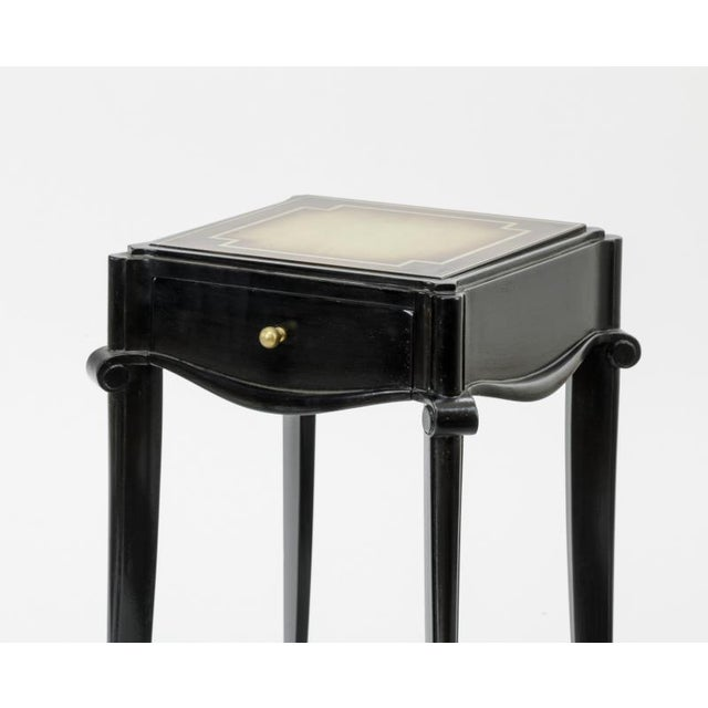 Jean Pascaud Jean Pascaud Black Lacquered and Gold Sabot Bedside or Side Table For Sale - Image 4 of 5
