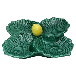 Mid-Century French Majolica Serving Dish W/Lemon