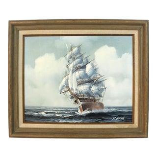 Original R Boren Signed Oil Painting For Sale