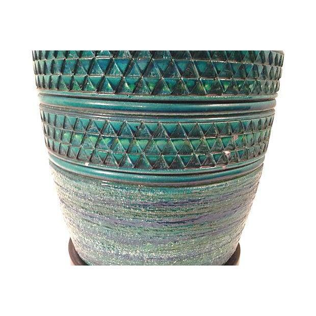 Bitossi Turqoise Blue Large Ceramic Lamp For Sale - Image 5 of 6