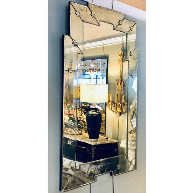 Art Deco Style Venetian Wall Console Mirror Distressed Frame Border Clear Center For Sale - Image 4 of 13