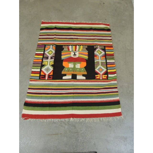 Large Vintage Woven Peruvian Throw With Fringes For Sale In Miami - Image 6 of 6
