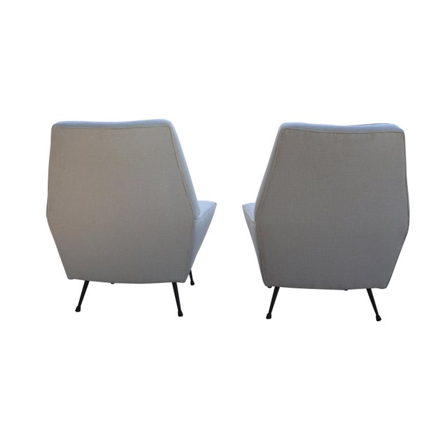 Mid-Century Black & White Italian Armchairs - A Pair - Image 4 of 5