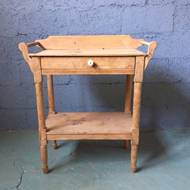 Sweet little weathered pine washstand aged for you! You can't buy this kind of weathered piece new! This sturdy little...