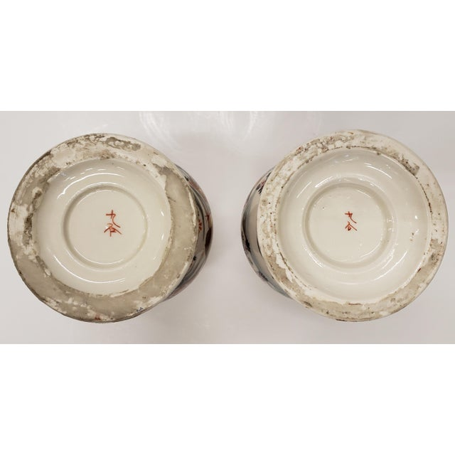 Circa 1930 Japanese Kutani Porcelain Bird/Floral Motifs Footed Baluster Vases - a Pair For Sale In New Orleans - Image 6 of 7