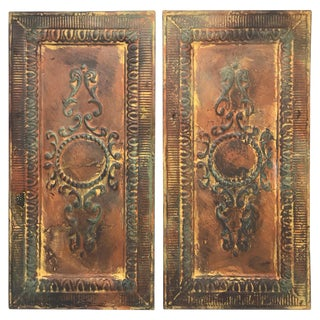 Early 20th Century Architectural Reclaimed Raised-Tin Tole Wall Plaques, Pair For Sale