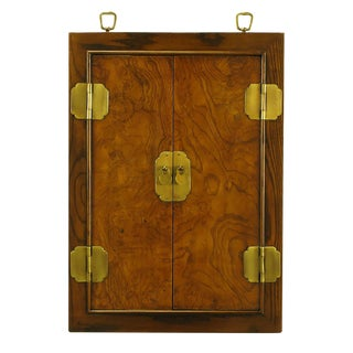 Burled Walnut and Ash Two-Door Enclosed Mirror With Brass Asian Hardware For Sale