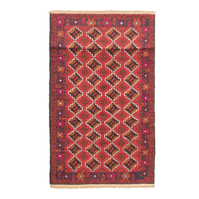 Tribal Afghan Hand-Knotted Rug For Sale